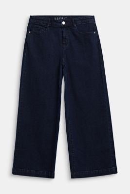 Ankle-length culottes made of stretch denim, RINSE WASH DEN, detail