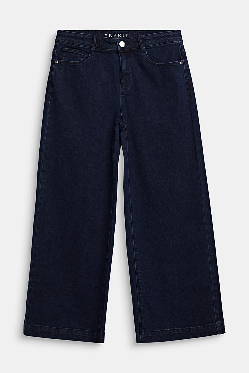 Enkellange culotte van stretch-denim