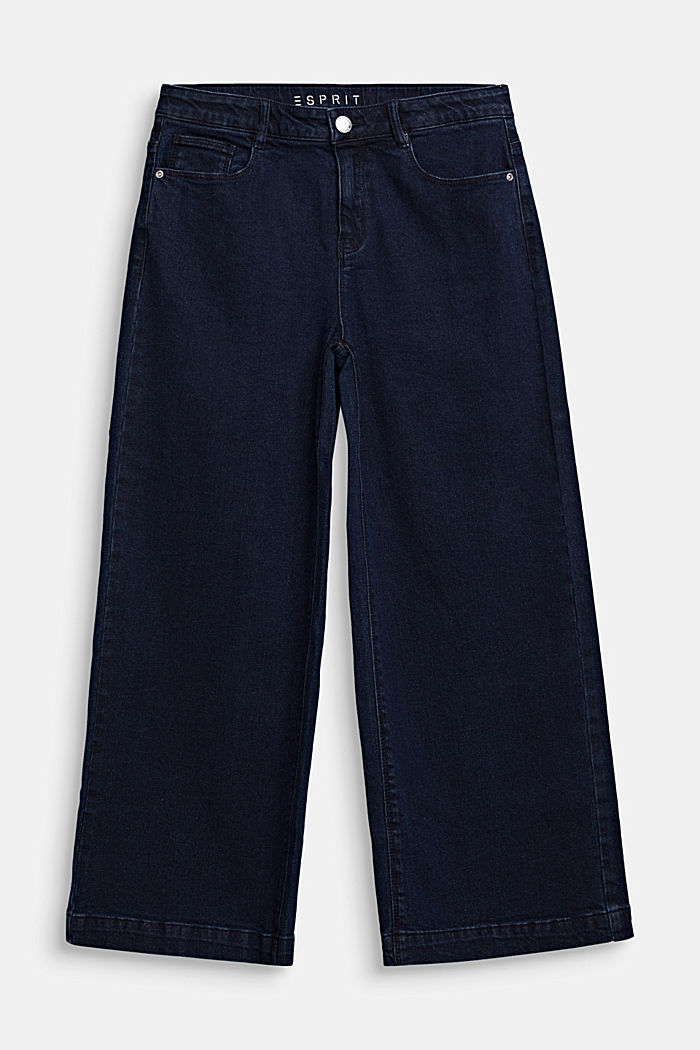 Ankle-length culottes made of stretch denim, RINSE WASH DENIM, detail image number 0