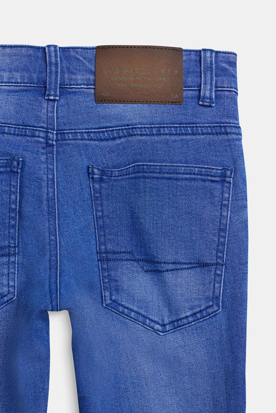 Washed stretch jeans with an adjustable waistband, LCBRIGHT BLUE DE, detail image number 3