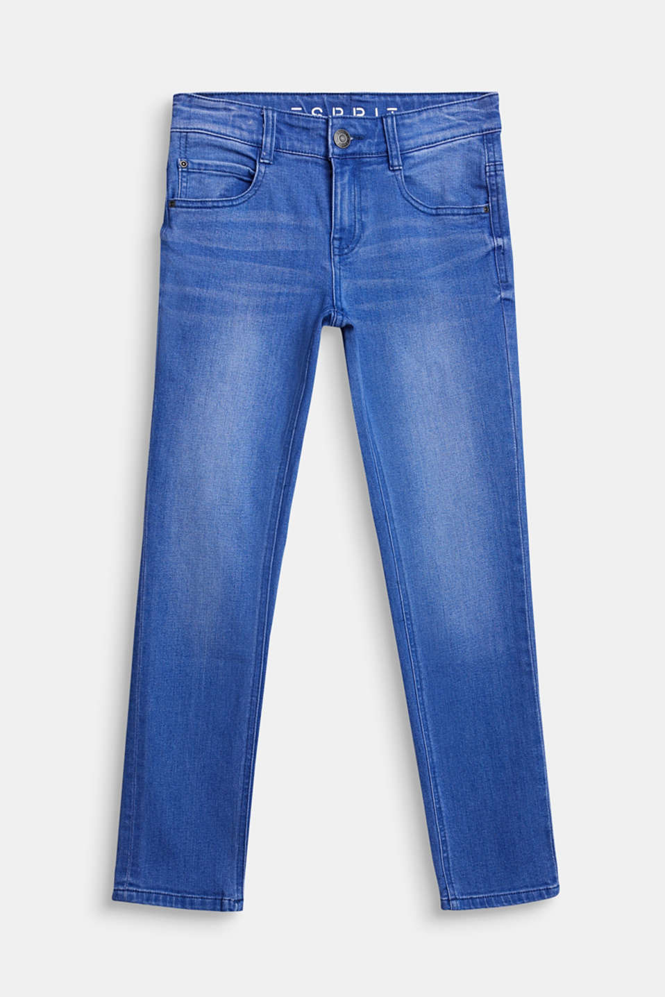 Washed stretch jeans with an adjustable waistband, LCBRIGHT BLUE DE, detail image number 0