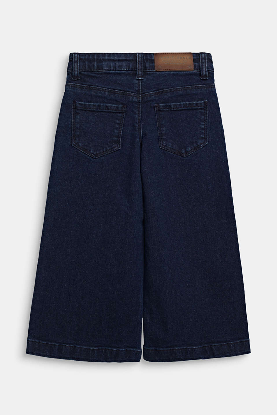 Culottes in stretch denim, adjustable waistband, DARK INDIGO DE, detail image number 1