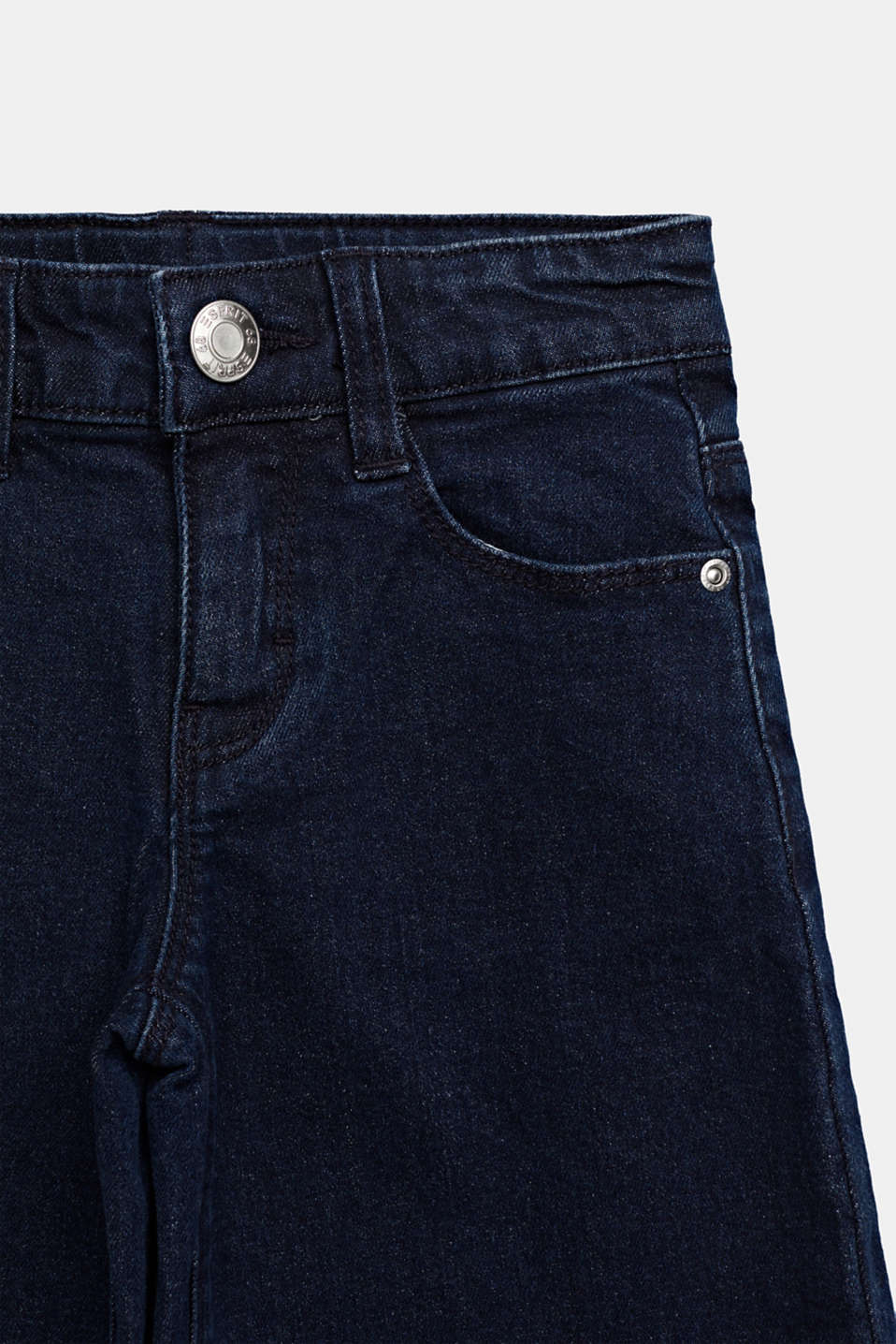 Culottes in stretch denim, adjustable waistband, DARK INDIGO DE, detail image number 2