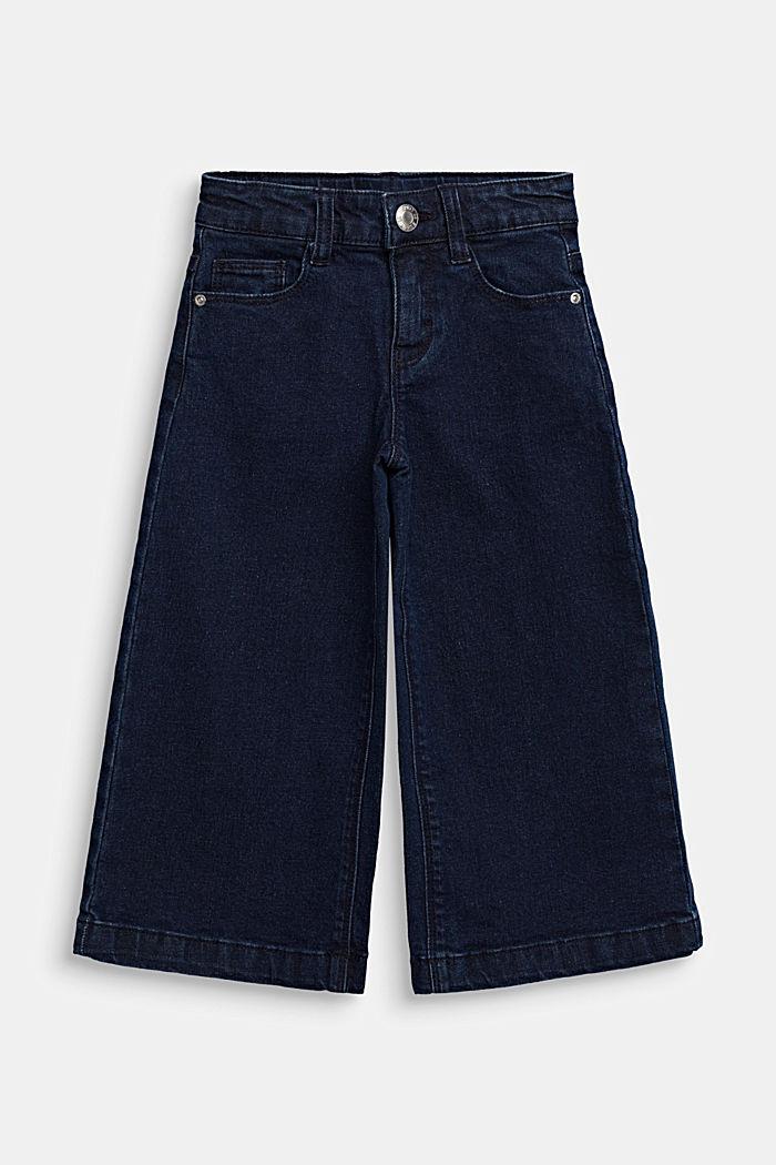 Culottes in stretch denim, adjustable waistband, DARK INDIGO, detail image number 0