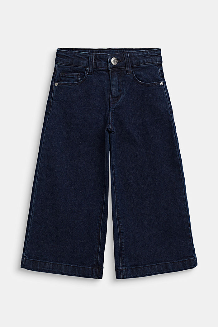 Culottes in stretch denim, adjustable waistband