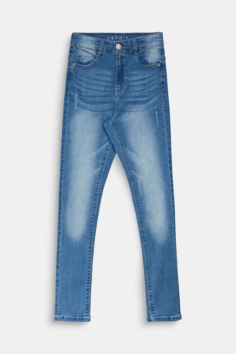 Jeans in a vintage look with an adjustable waistband, LCLIGHT INDIGO D, detail image number 0