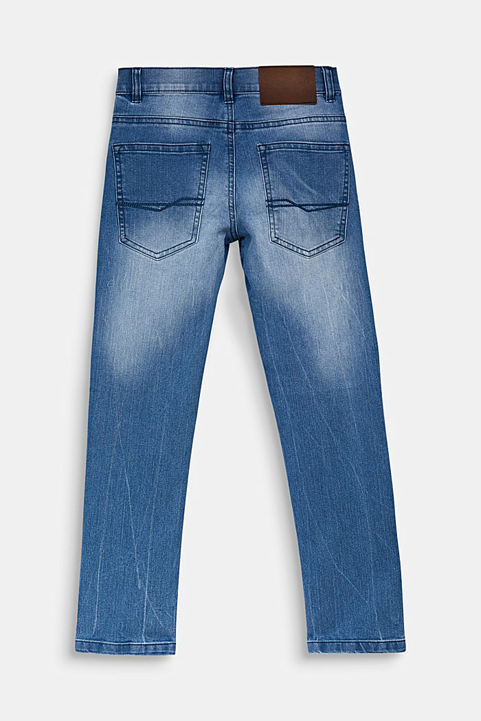 Jeans in a vintage look with an adjustable waistband, LIGHT INDIGO DENIM, detail image number 1