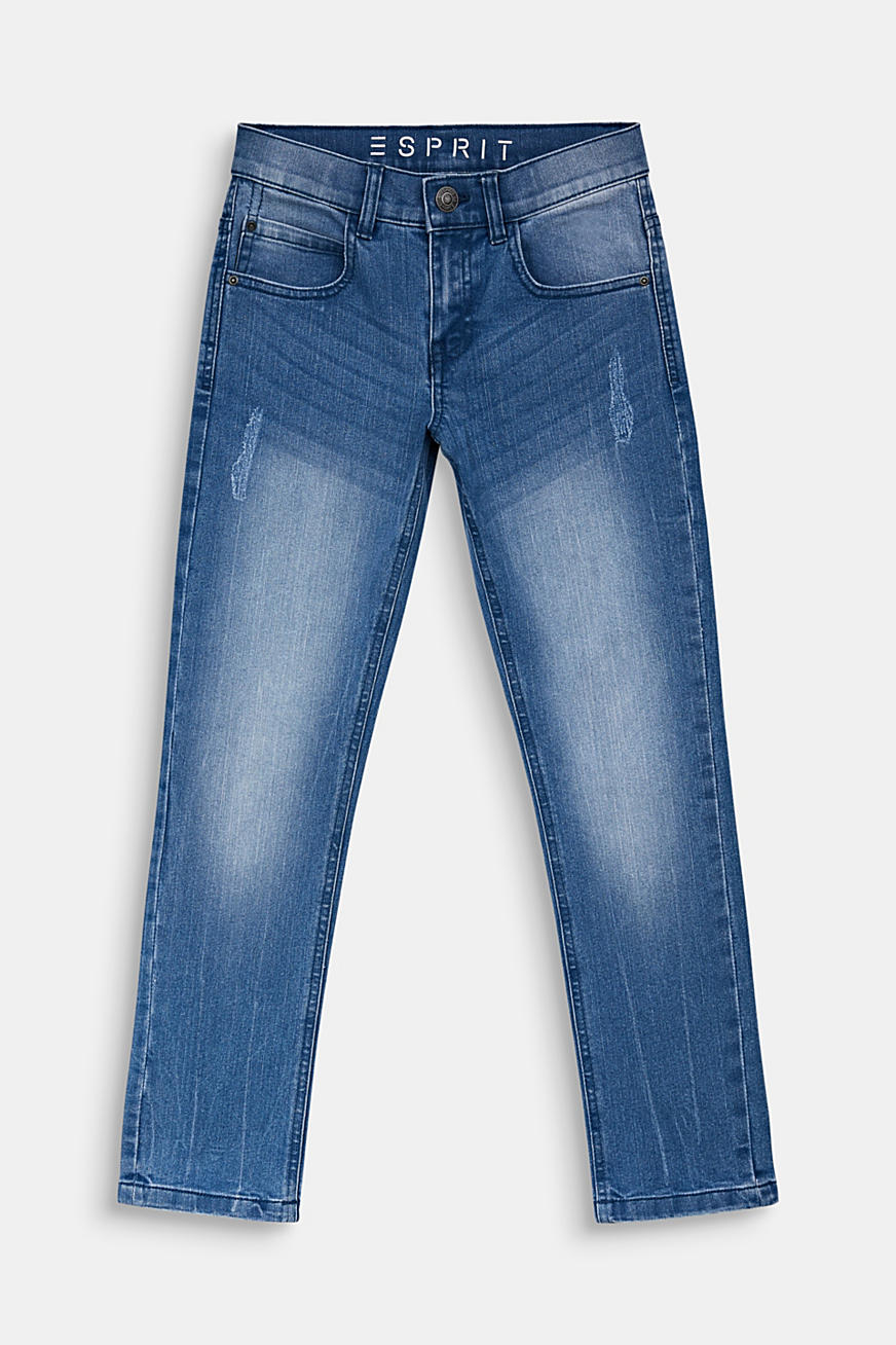 Jeans im Used-Look, Verstellbund