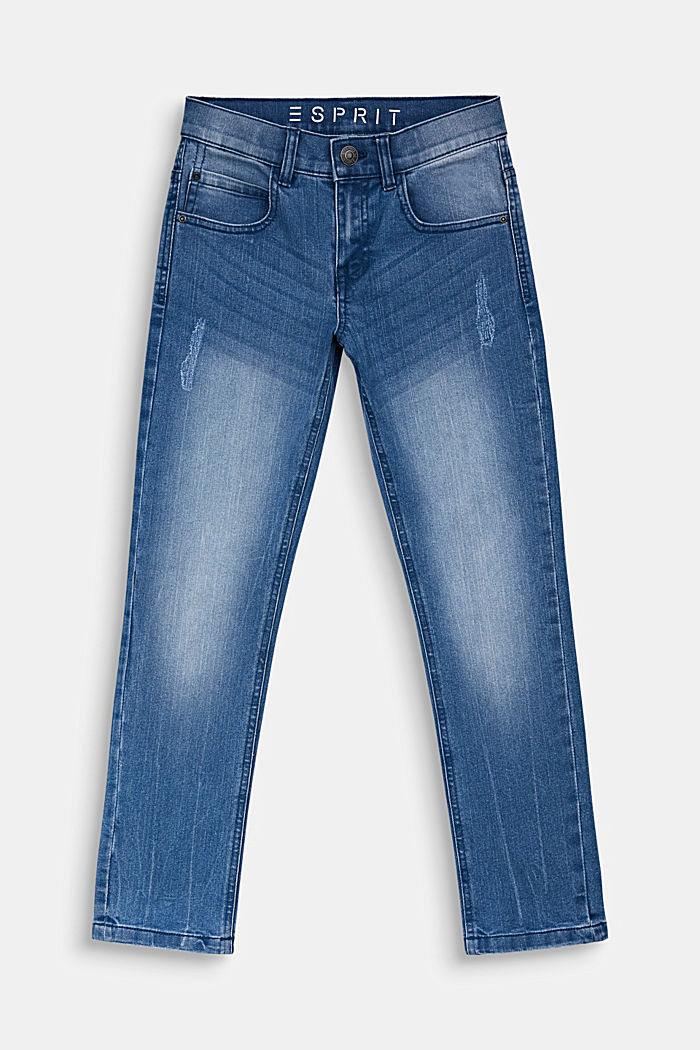Jeans in a vintage look with an adjustable waistband, LIGHT INDIGO DENIM, detail image number 0
