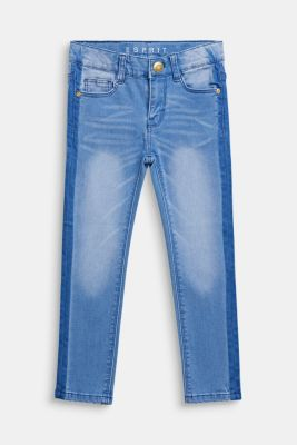Jeans in a trendy garment wash, adjustable waistband, BLEACHED DENIM, detail