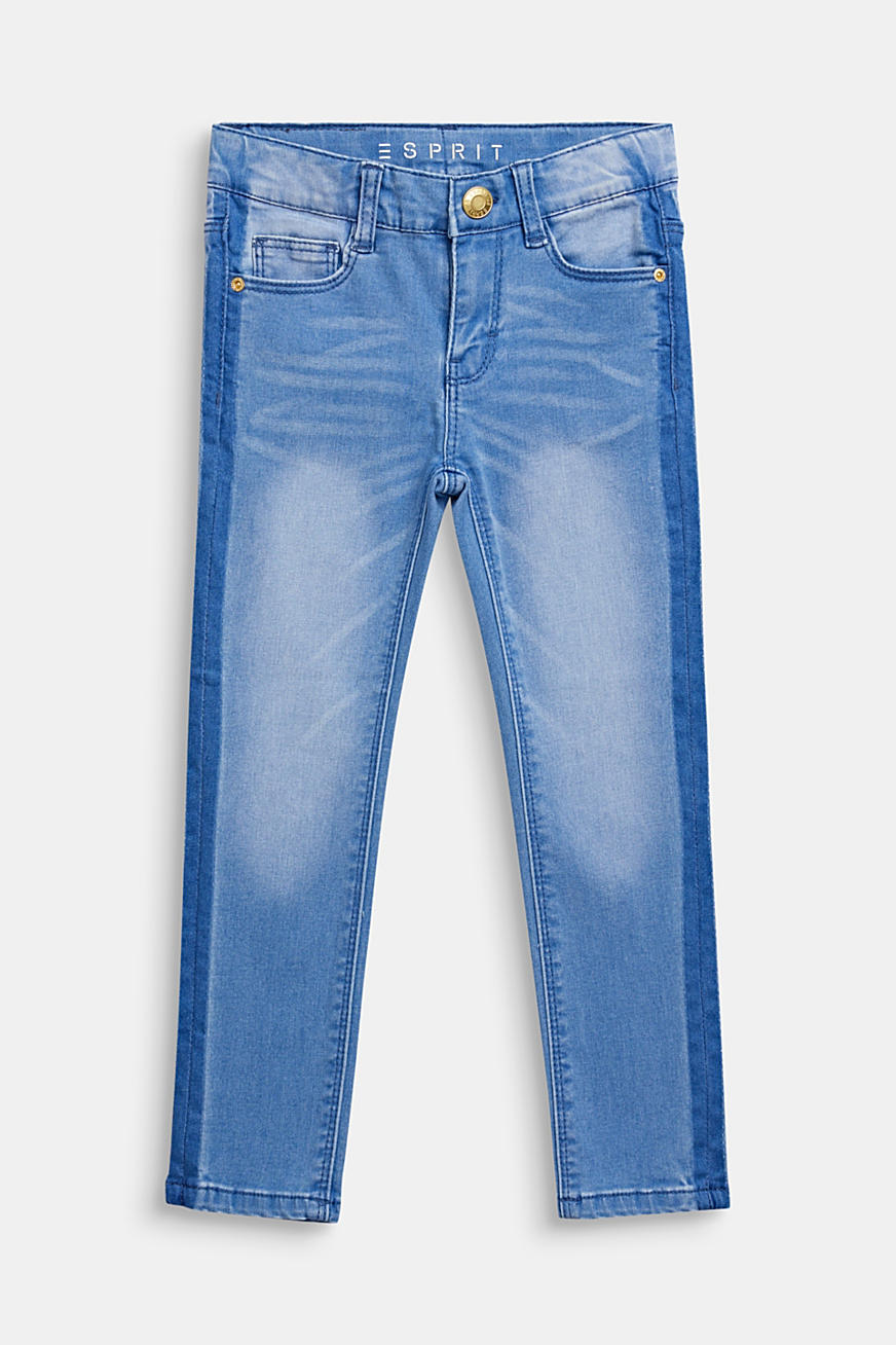 Jeans i trendy forvasket look, justerbar linning