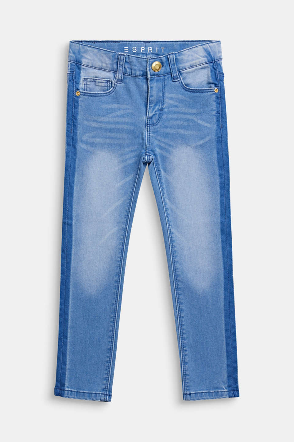 Esprit - Jeans in a trendy garment wash, adjustable waistband
