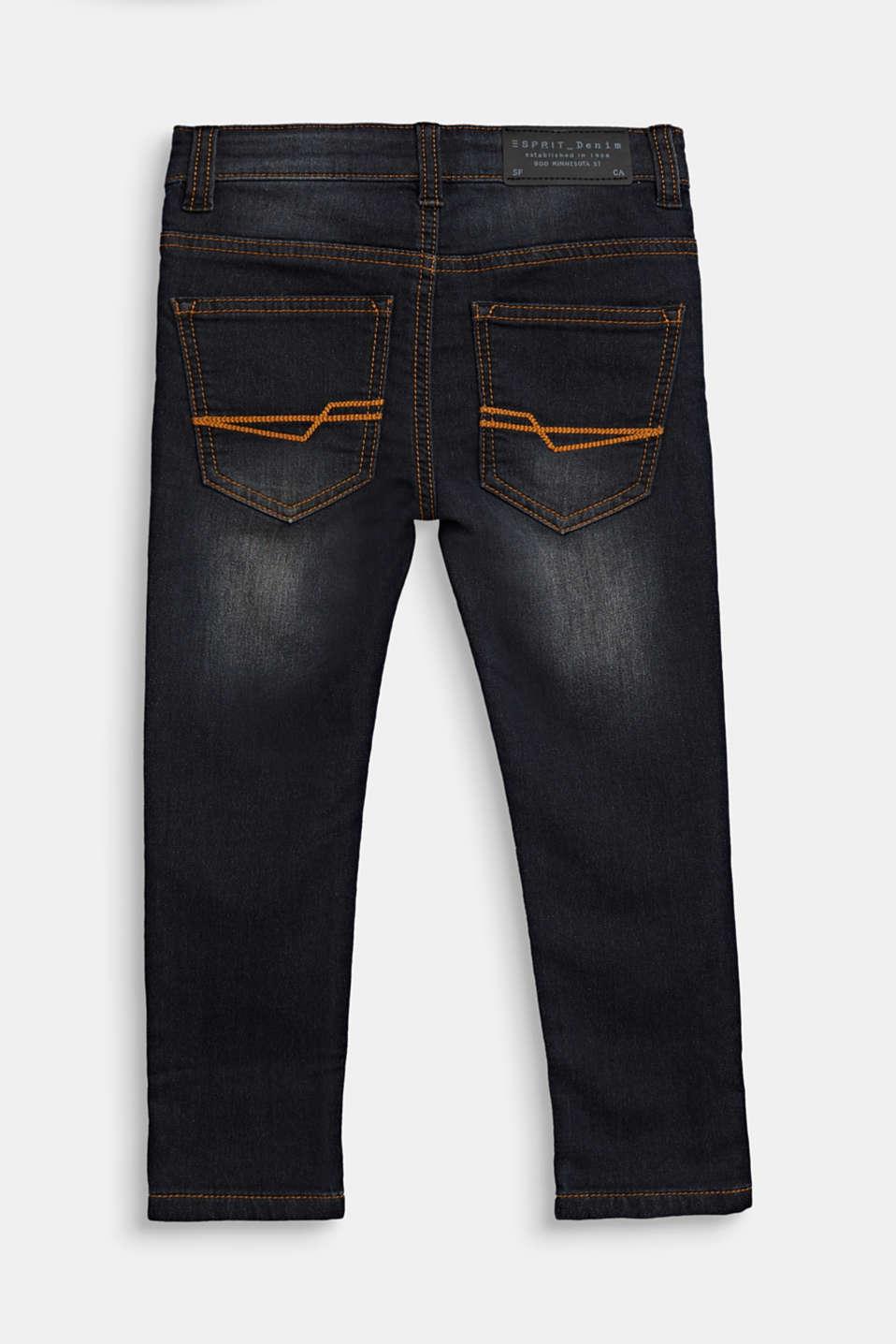 Jeans in comfy tracksuit fabric, adjustable waistband, BLACK DENIM, detail image number 1