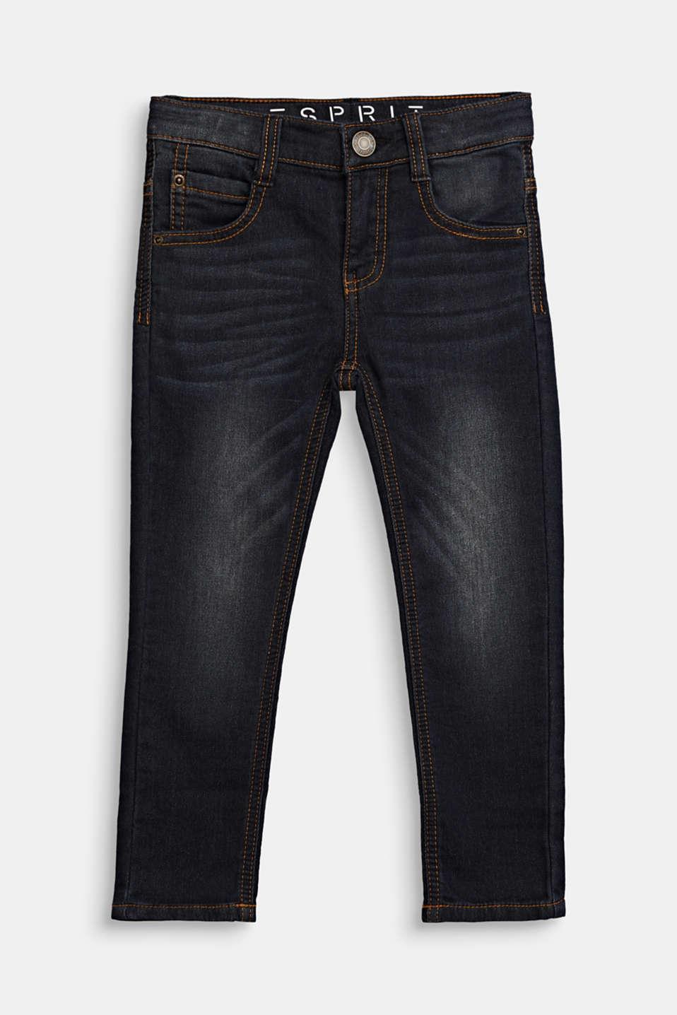 Jeans in comfy tracksuit fabric, adjustable waistband, BLACK DENIM, detail image number 0