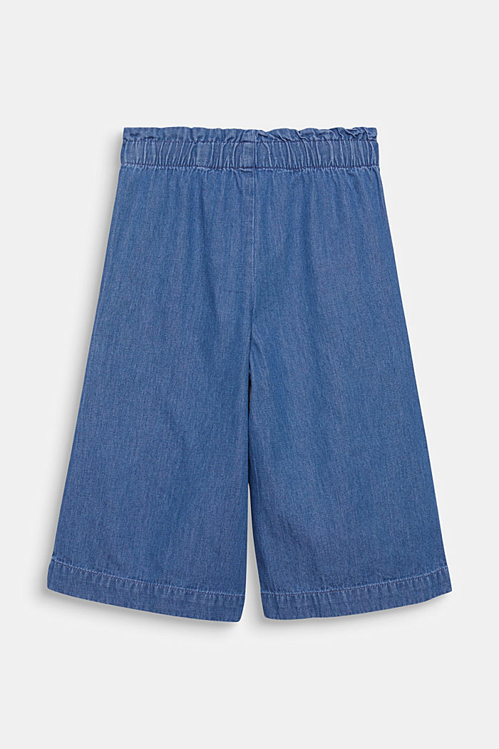 Denim culottes with an elasticated waistband, 100% cotton