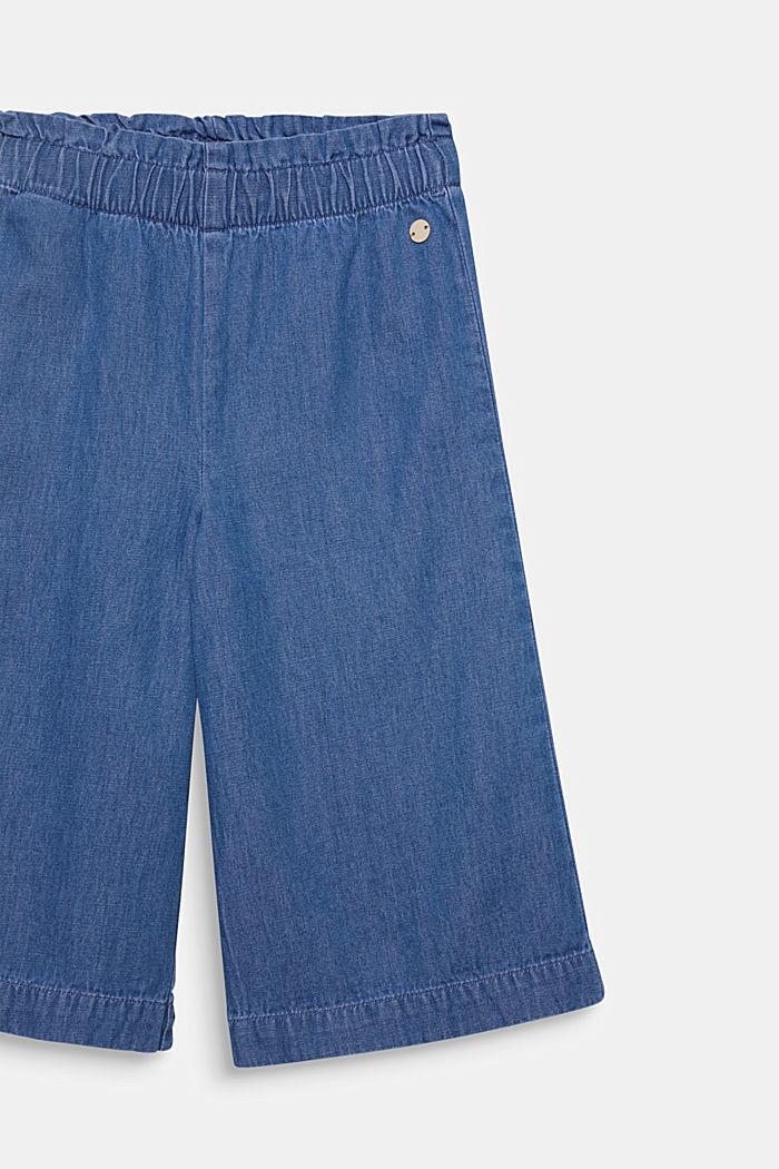 Culotte vaquero con cintura elástica, 100% algodón, MEDIUM WASHED DENIM, detail image number 2