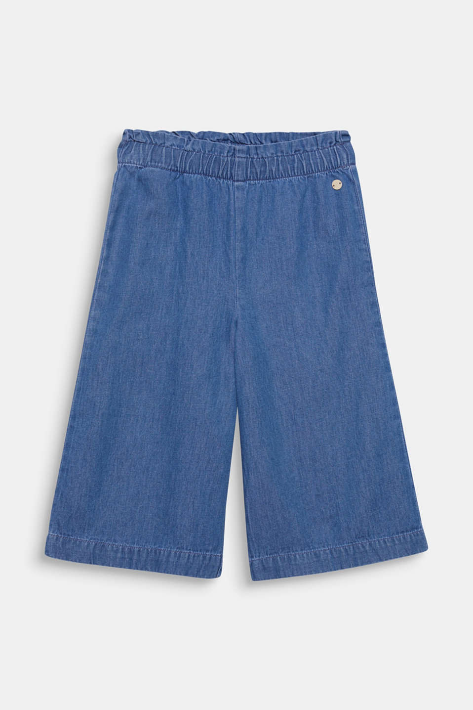 Esprit - Denim culottes with an elasticated waistband, 100% cotton