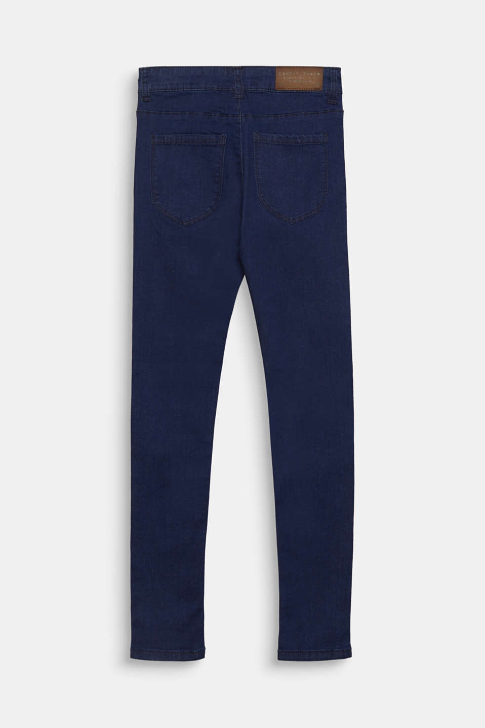 Dark denim stretch jeans with an adjustable waistband, LCRINSE WASH DEN, detail image number 1