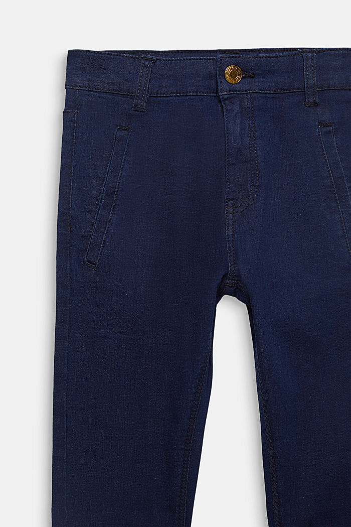 Dark denim stretch jeans with an adjustable waistband, RINSE WASH DENIM, detail image number 2