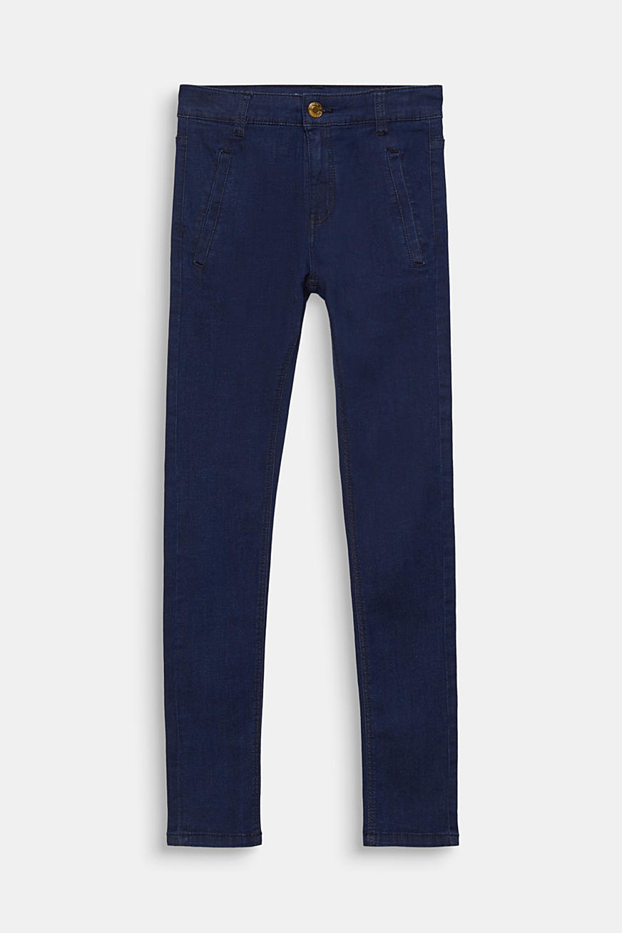 Dark denim stretch jeans with an adjustable waistband