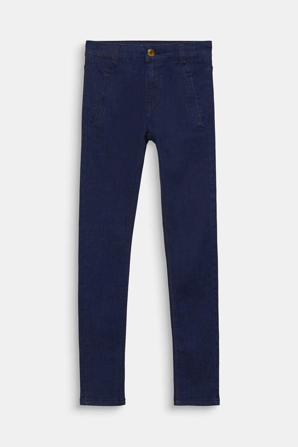 Dark denim stretch jeans with an adjustable waistband, LCRINSE WASH DEN, detail image number 0