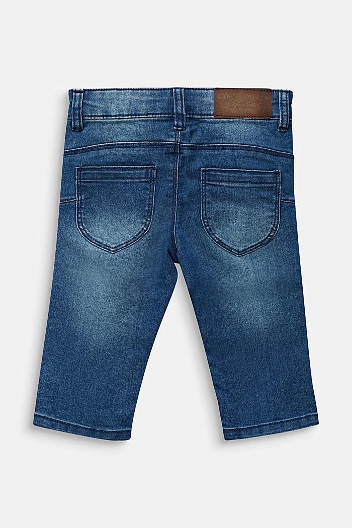 Stretchy capri-length jeans, adjustable waistband, MEDIUM WASHED DENIM, detail image number 1