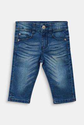 Stretchy capri-length jeans, adjustable waistband, MEDIUM WASH DE, detail