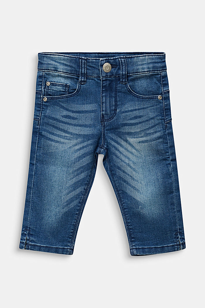 Stretchy capri-length jeans, adjustable waistband, MEDIUM WASHED DENIM, detail image number 0