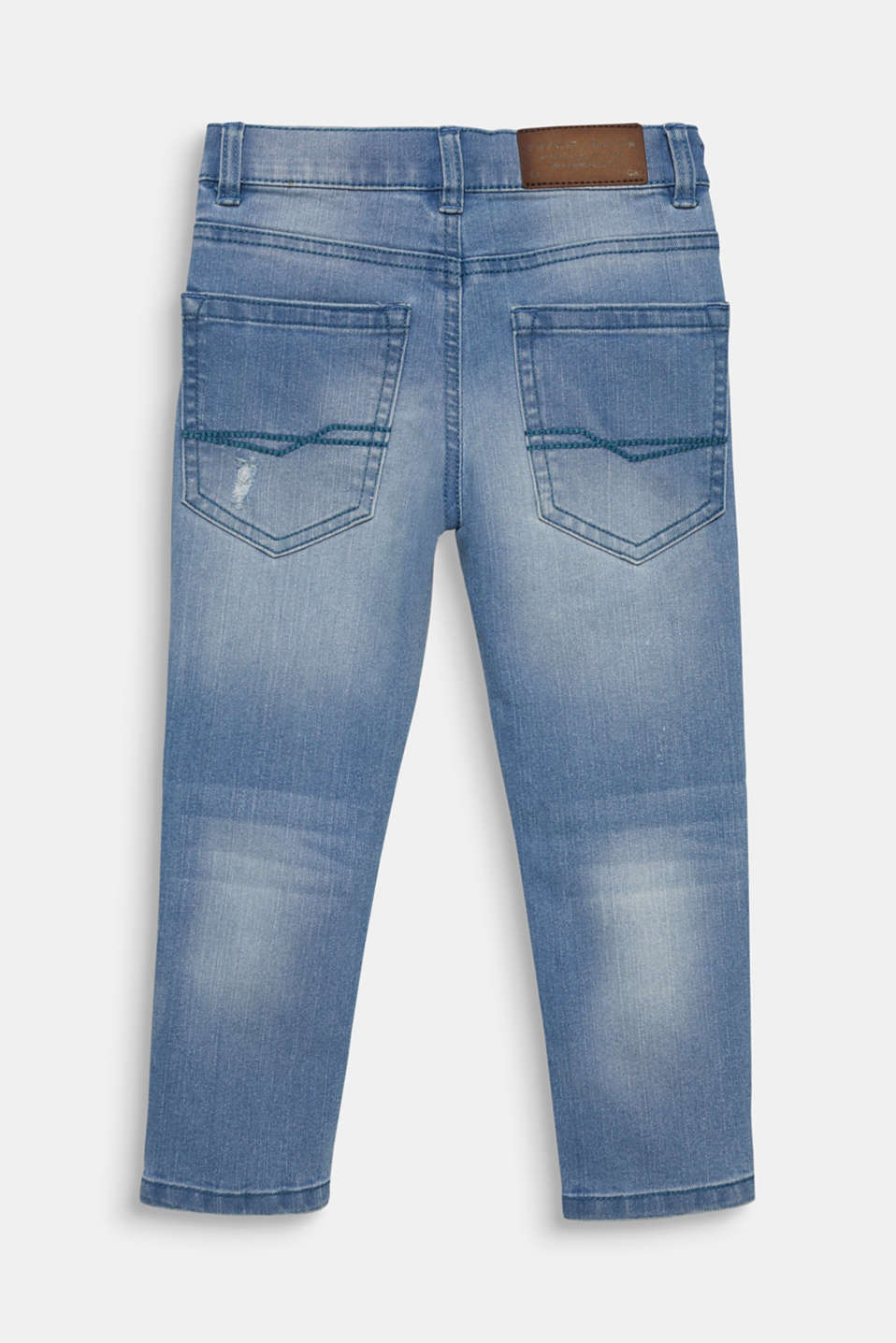 Tapered-Fit Jeans with vintage details, adjustable waistband, LIGHT INDIGO D, detail image number 1