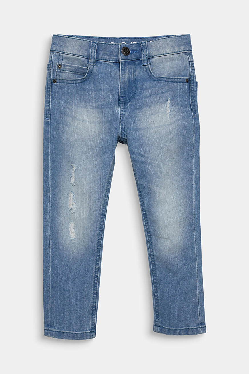 Tapered-Jeans mit Used-Effekten, Verstellbund