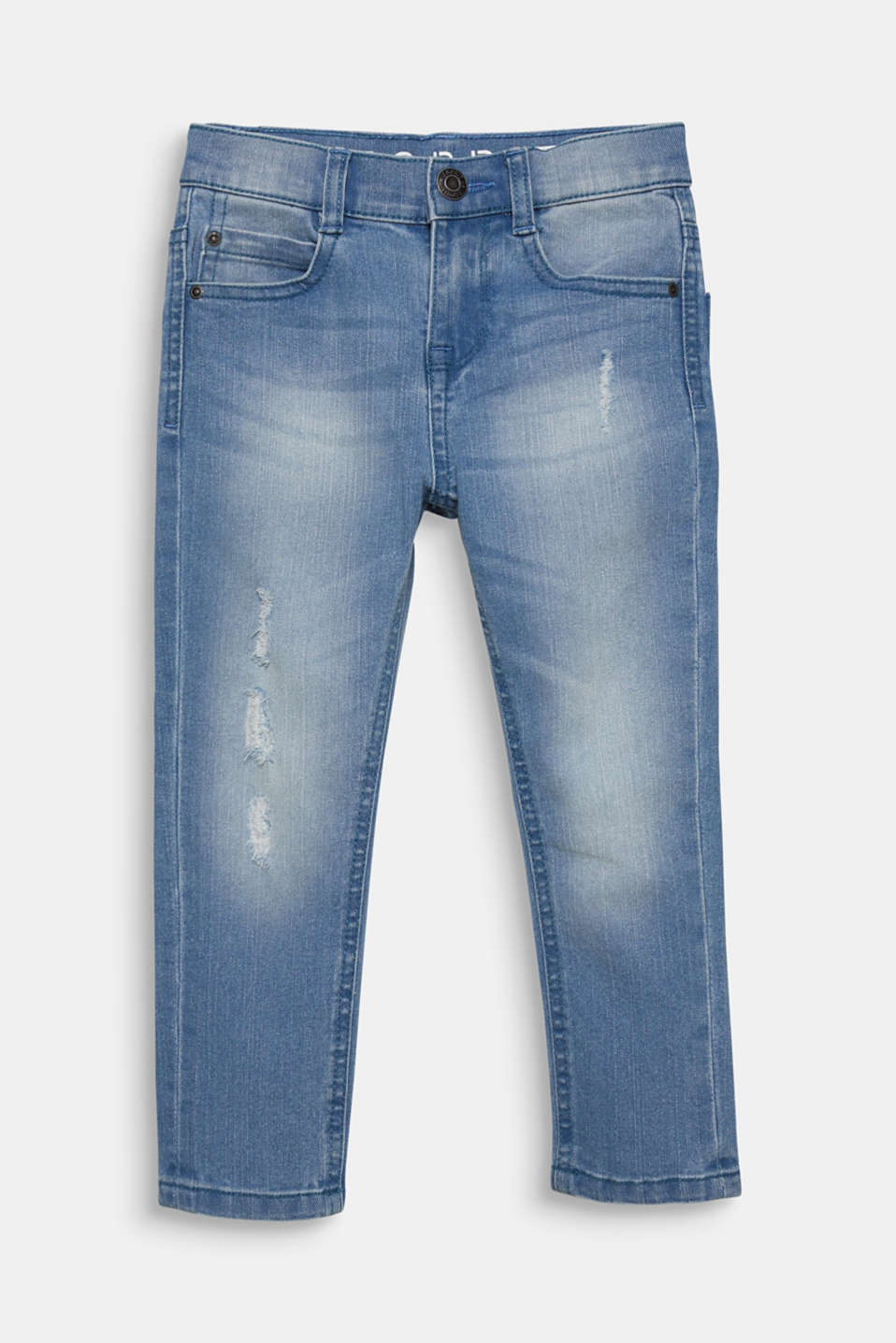 Tapered-Fit Jeans with vintage details, adjustable waistband, LIGHT INDIGO D, detail image number 0