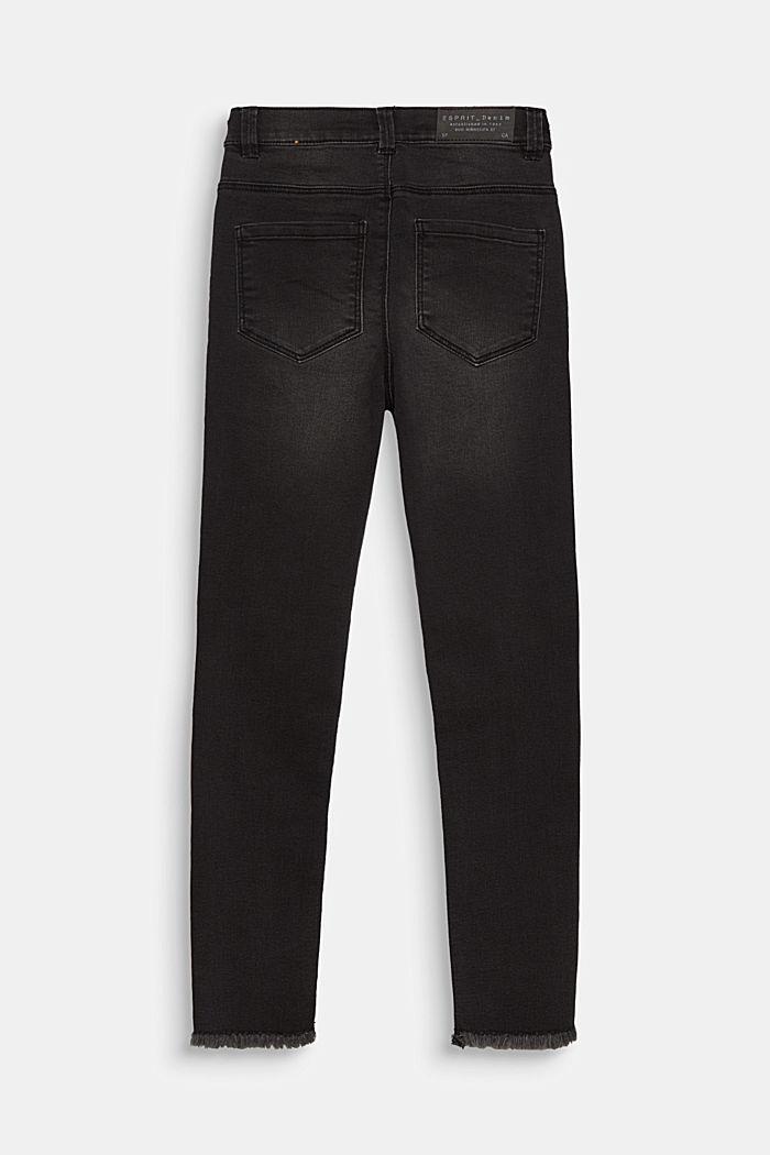 Jeans mit Zipper und Fransensaum, Verstellbund, BLACK DENIM, detail image number 1
