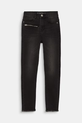 Jeans with a zip and frayed hem, adjustable waistband, LCBLACK DENIM, detail