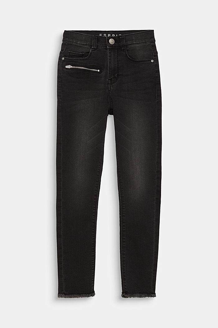 Jeans mit Zipper und Fransensaum, Verstellbund, BLACK DENIM, detail image number 0