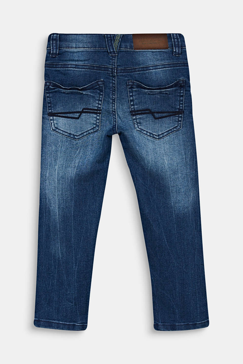 Jeans in a garment-washed look with an adjustable waistband, LIGHT INDIGO D, detail image number 1