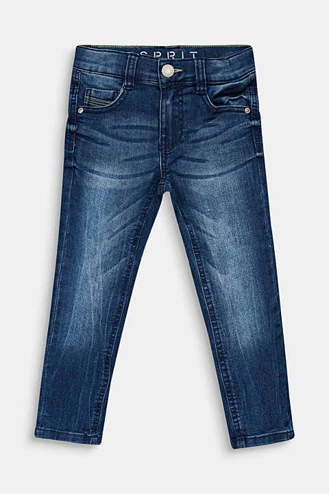 Jeans in a garment-washed look with an adjustable waistband