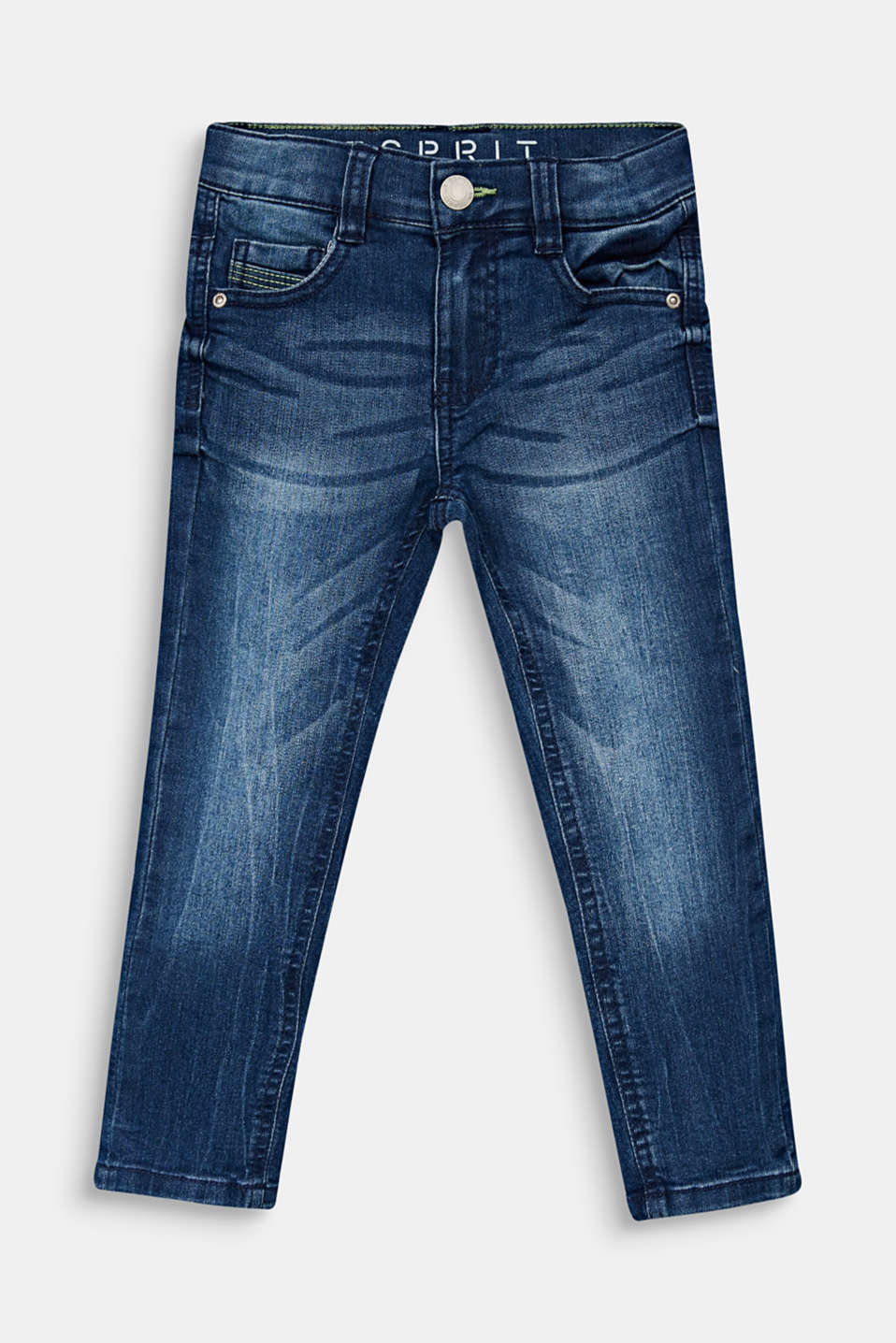 Esprit - Jeans in a garment-washed look with an adjustable waistband