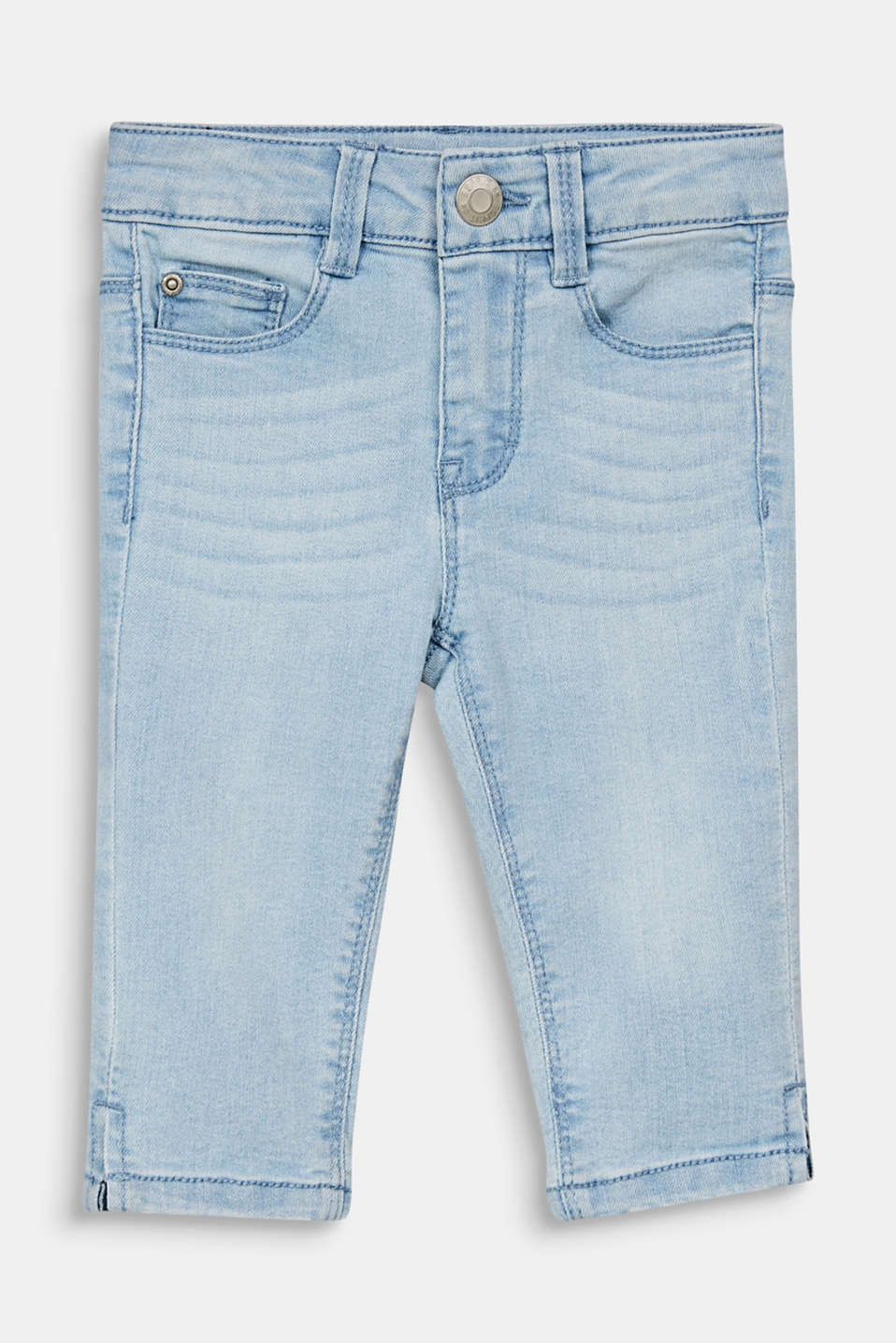 Capris jeans with an adjustable waistband, BLEACHED DENIM, detail image number 0