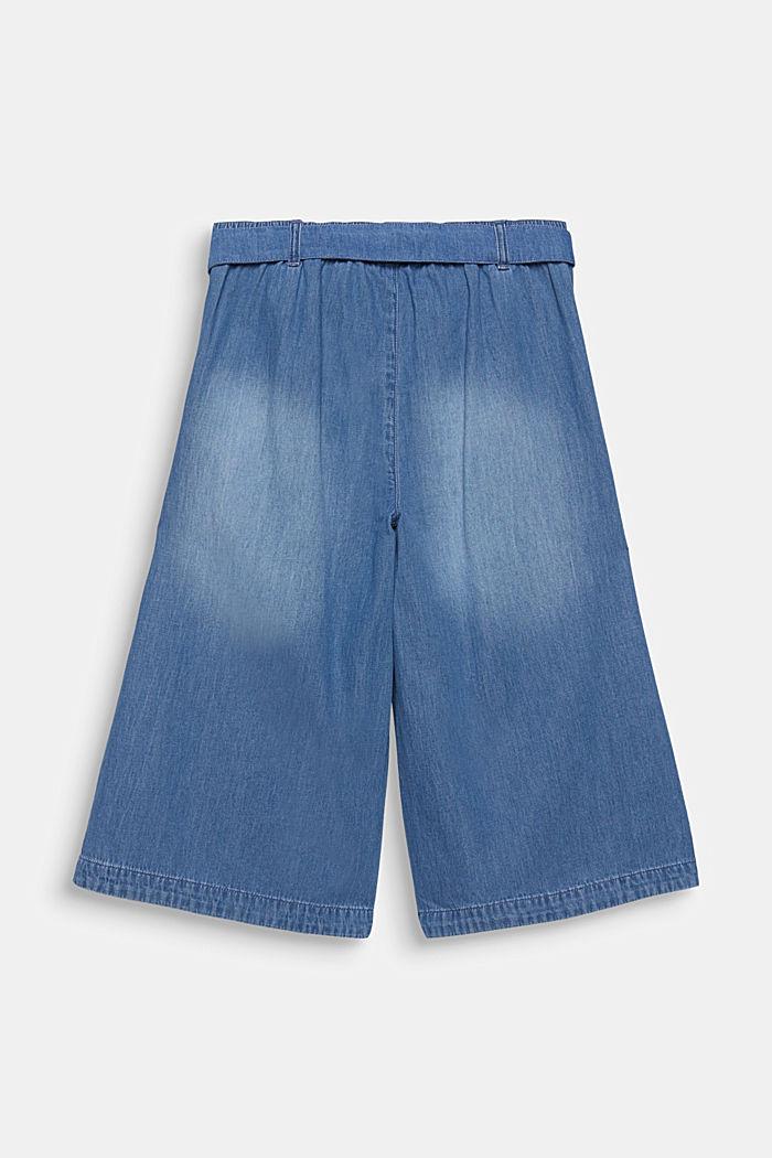 Culottes with a tie-around belt, 100% cotton