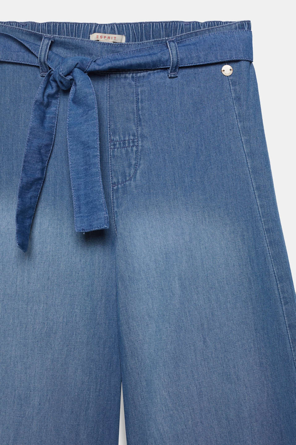 Culottes with a tie-around belt, 100% cotton, LCMEDIUM WASH DE, detail image number 2