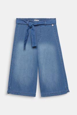 Culottes with a tie-around belt, 100% cotton, LCMEDIUM WASH DE, detail