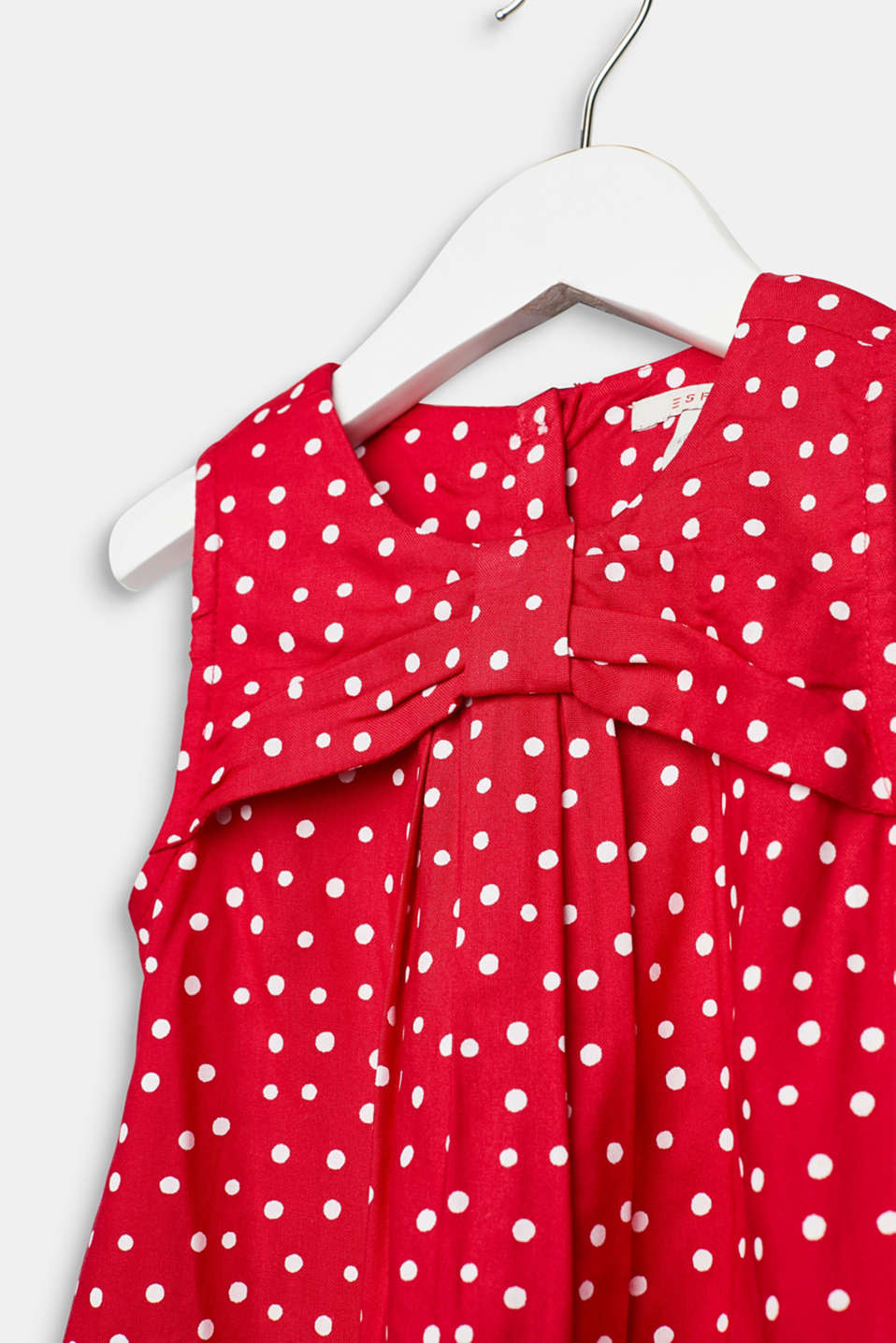 Flared woven dress with polka dots, LCRASPBERRY, detail image number 1