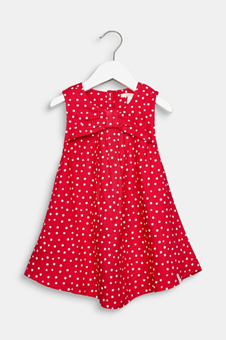 Flared woven dress with polka dots