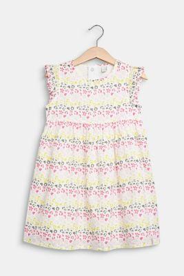 Floral print dress, 100% cotton, WHITE, detail