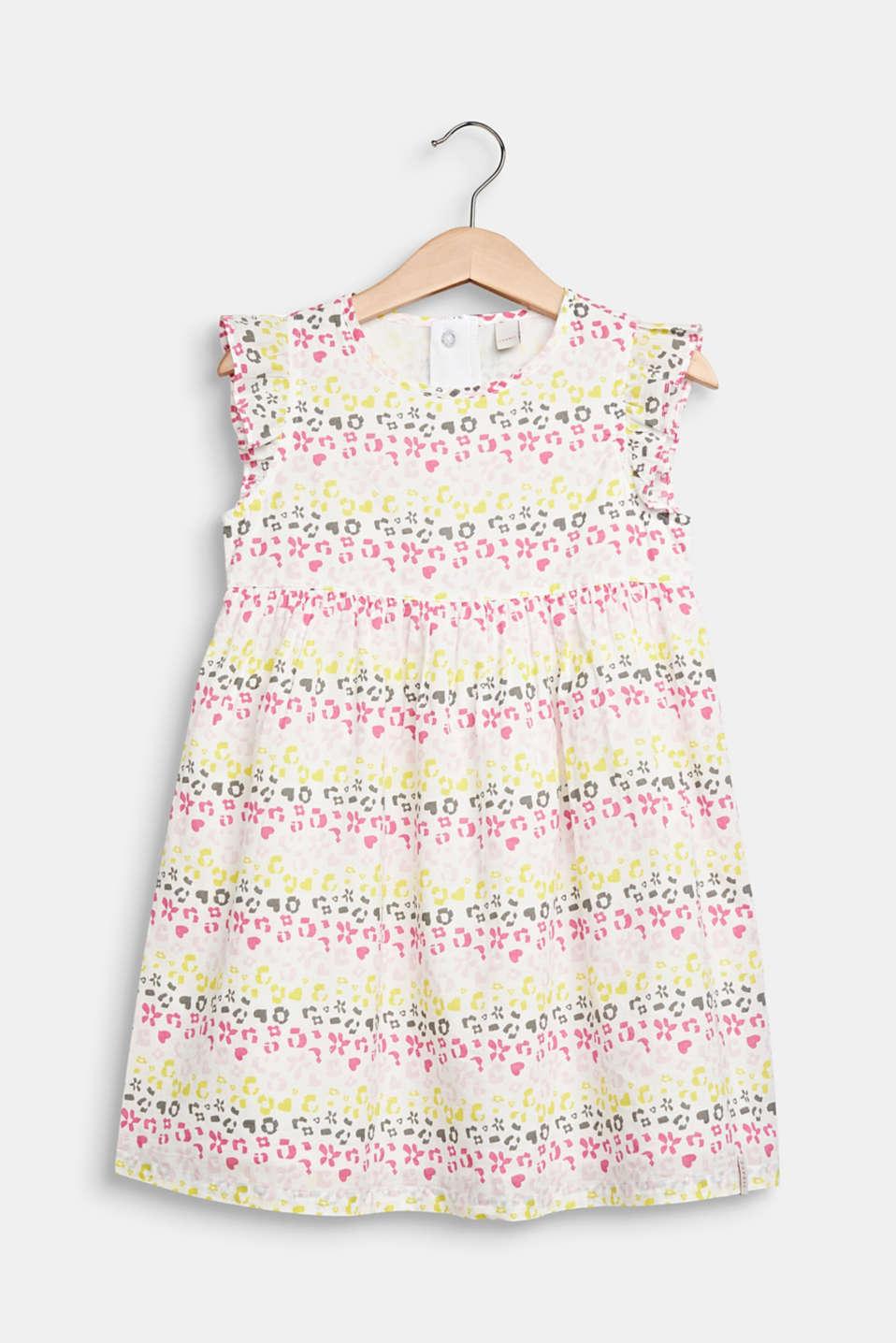 Floral print dress, 100% cotton, WHITE, detail image number 0