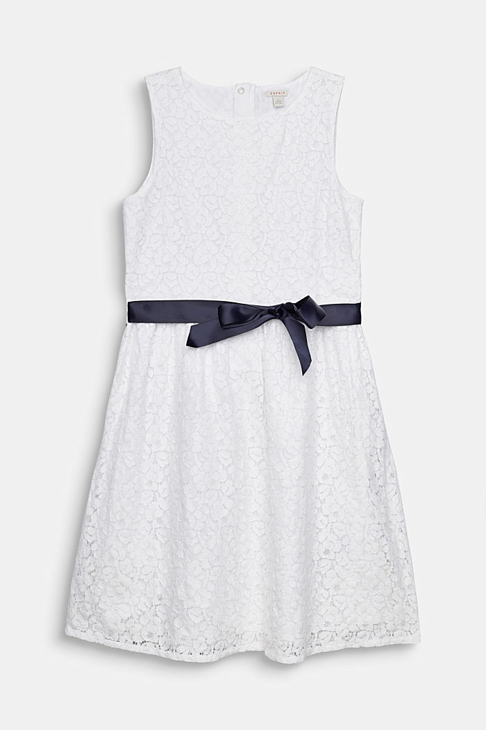 Formal lace dress, WHITE, detail image number 0