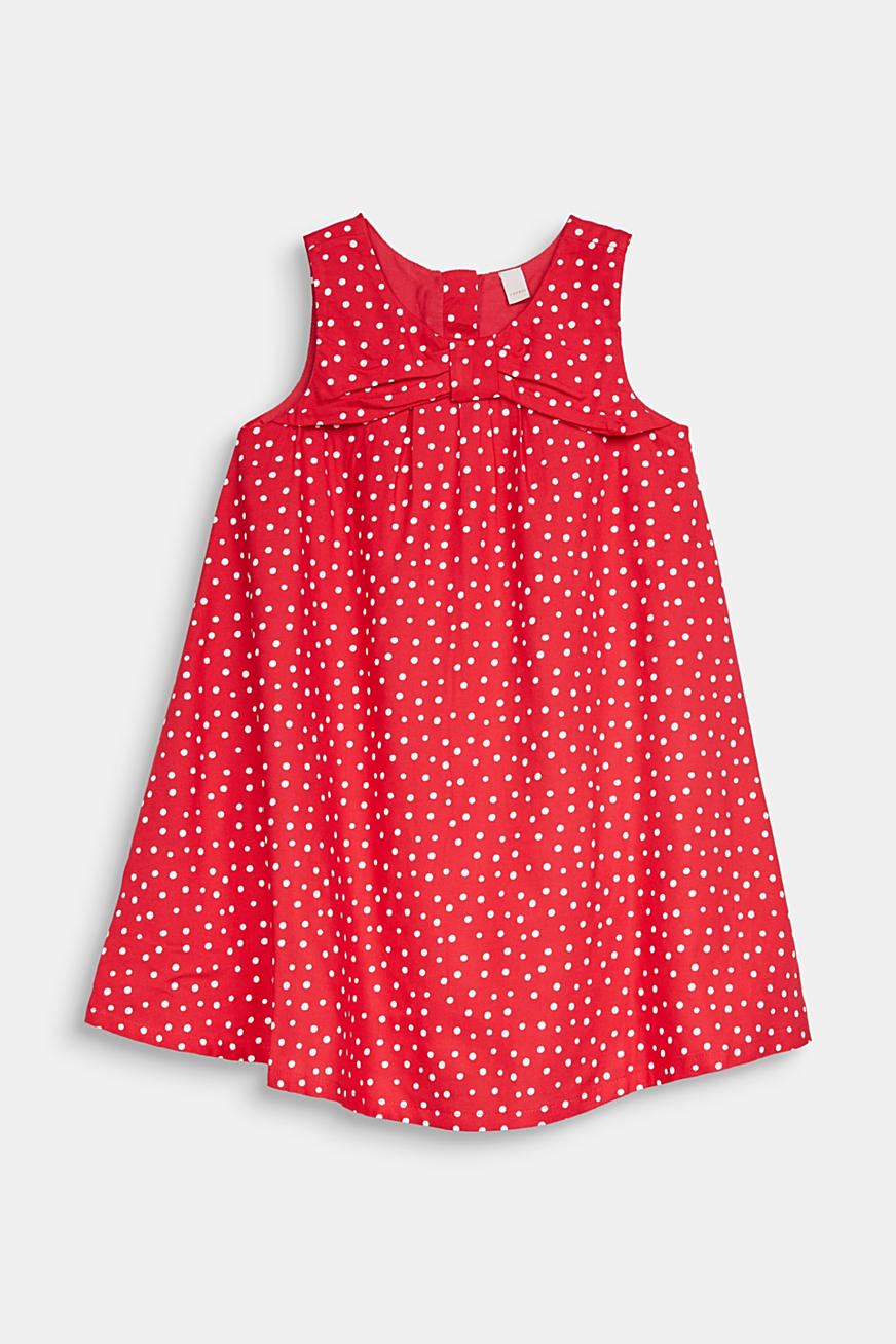 Woven polka dot dress with bows