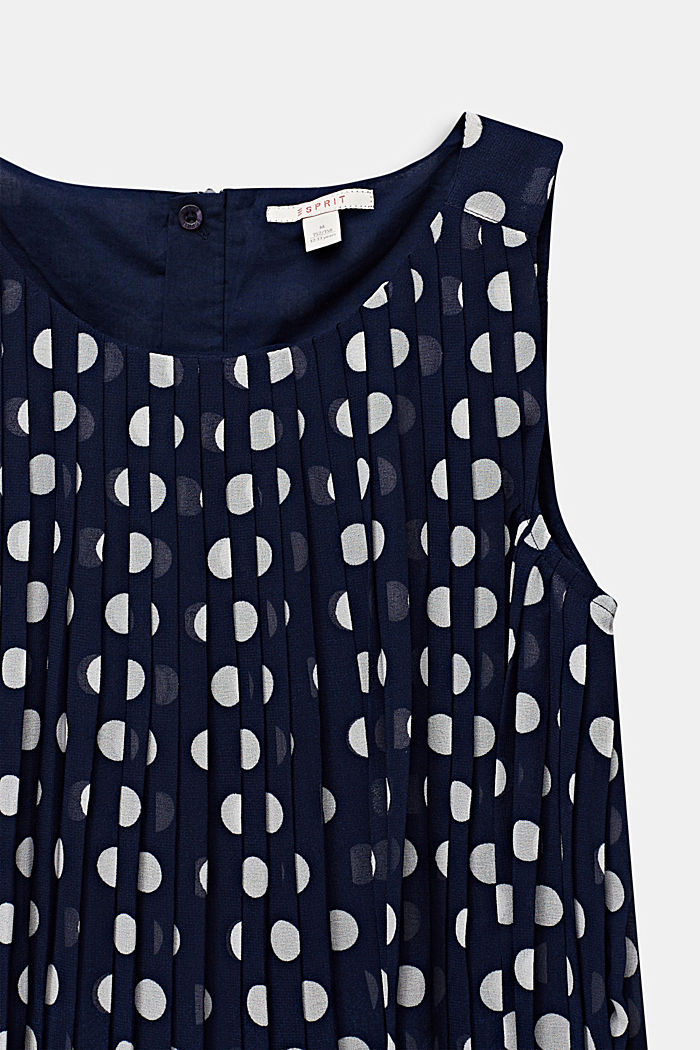 Pleated chiffon dress with polka dots, MIDNIGHT BLUE, detail image number 2
