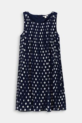 Pleated chiffon dress with polka dots, LCMIDNIGHT BLUE, detail