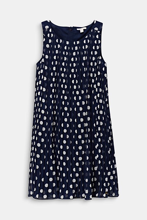Pleated chiffon dress with polka dots
